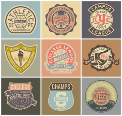 Old style sporting badges vector collection