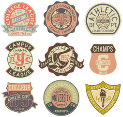 Old style sporting badges  on white background