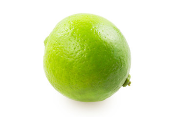 One lime on white background