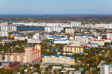 Aerial view of the city of Nizhnevartovsk, Tyumen region, Russia, This is the center of the oil industry in Russia.