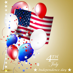 Independence day, vector background with USA flag