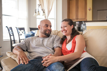 Couple spending time together at home - stock image