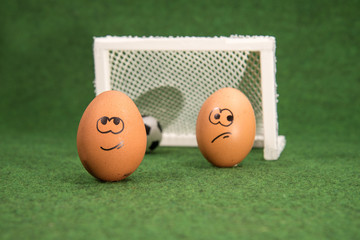 funny eggs and football. goal and envy egg