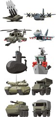 set of the military combat vehicle plane and boats