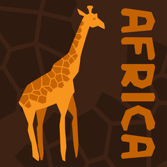 African ethnic background with illustration of giraffe.