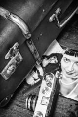 retro photography stylish girls and old bag