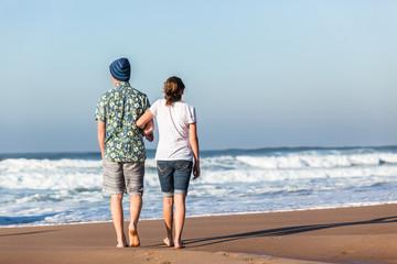 Girl Boy Walking Beach Waves