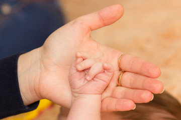 Baby's hand in her mom's hands