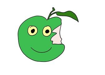 doodle green apple