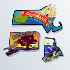 Massachusetts Connecticut Rhode Island  Illustrations