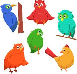 Cartoon set of colorful cute funny birds