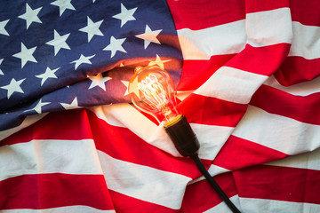 Light bulb on USA flag