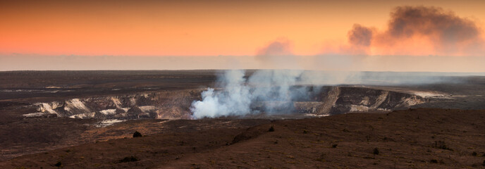 Poster Volcano Halemaumau Crater At Sunset in Hawaii