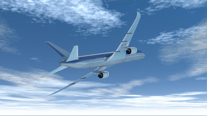 Verkehrsflugzeug im Vorbeiflug bei schönem Wetter