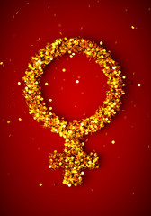 3d render image of female gender symbol wih many golden coins