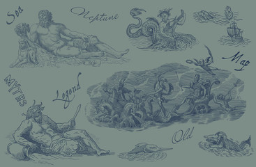 Neptune and monsters illustration
