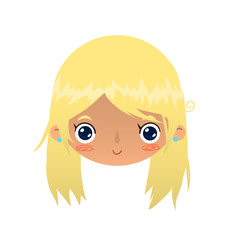 Cartoon blonde girl face.
