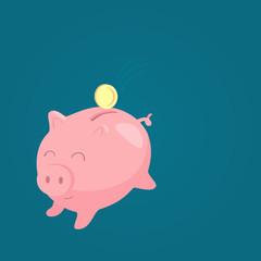 cute piggy bank and coin flat design, business
