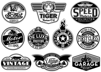 Motor company vintage labels in black and white