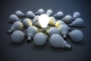 3d image of light bulb, creativity concept
