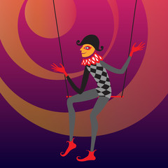 Harlequin sitting on a trapeze.