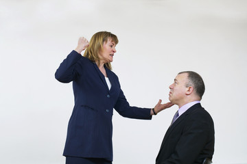 business man and woman arguing