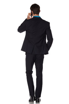 Back picture of a business man. Isolated