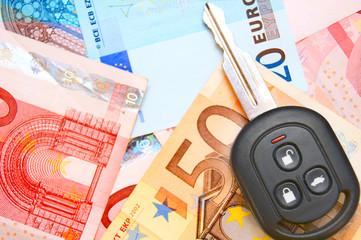 Key on euro banknotes.