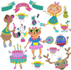 Cartoon color party with little girl and animals