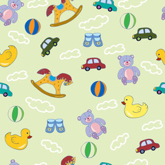 Seamless pattern with baby toys.