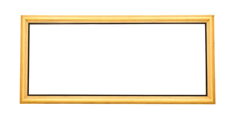 Isolated wide gold painting frame