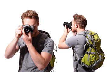 young man tourist use camera