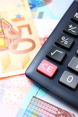 Calculator and banknote euro.