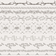 Vector vintage nature style ornaments, design elements and page