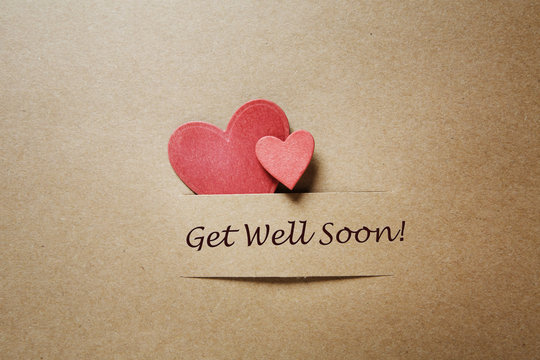 Get Well Soon message with red hearts