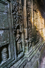 Khmer Temple Wall in Siem Reap, Cambodia