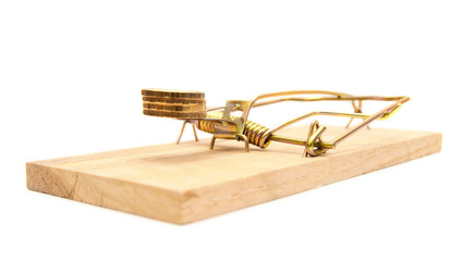Gold coins in a mousetrap.