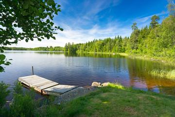 Summer Swedish lake in morning light