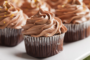 Macro shot of chocolate caramel cupcakes