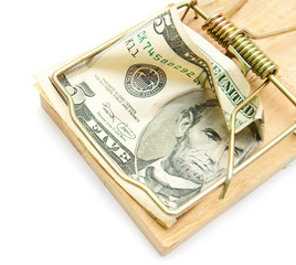 Money and mousetrap.