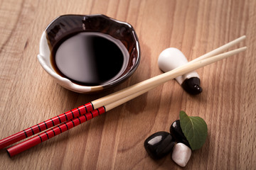 Soy sauce and chopsticks