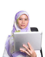 Muslim Female Proffesional With Computer Tablet
