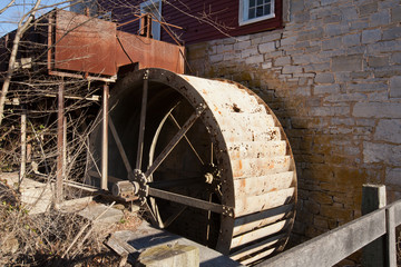 Old water wheel at a flour mill