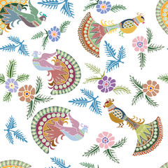 seamless pattern with retro peacocks