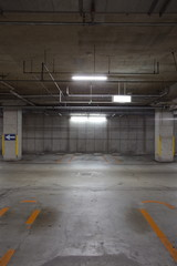 Empty underground parking background with copy space