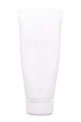 white tube cream packaging on white background