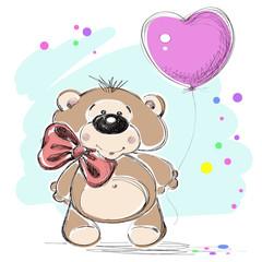 Nice little bear and a balloon. Vector illustration.