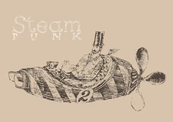 steam punk aircraft (airship) engraving style, hand drawn