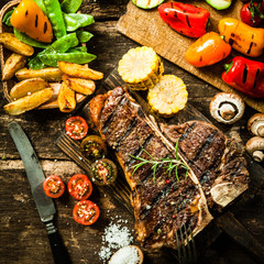 Porterhouse steak with assorted roast vegetables