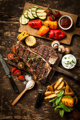 Wholesome spread with t-bone steak and veggies